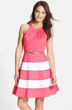 Eliza J Stripe Sateen Fit & Flare Dress