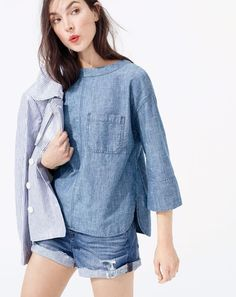 J.Crew women's chambray swing top, high-rise distressed denim short and Collection striped cropped trench coat.