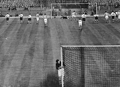 Ronnie Allen of West Bromwich Albion scores a penalty during the FA Cup final against Preston North End at Wembley, 1st May 1954. WBA goalkeeper Jimmy Sanders turns away from the action. West Brom won the match 3-2.