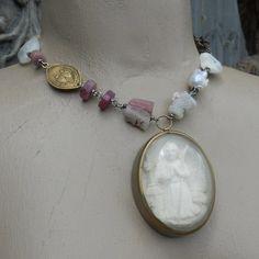 Saint Bernadette Meerschaum Religious Gemstone by HappyMoonDesigns, $345.00