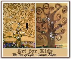 Kids art idea based on the sumptuous painting by Klimt - The Tree of Life