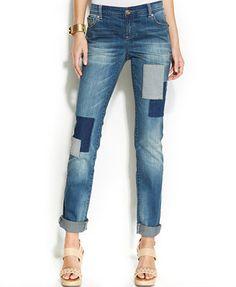 INC International Concepts Patchwork Boyfriend Jeans