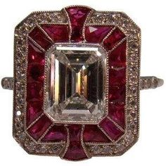 Art Deco Ruby and Diamond Ring in Platinum by nora