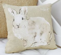 Watercolor Rabbit Pillow #potterybarn I just got this for my house and it is even cuter in person!