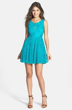 En Crème Pleated Lace Skater Dress (Juniors) available at #Nordstrom