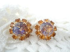 Vintage Earrings Moonstone Rhinestone Purple by FifisFroufrou, $18.00