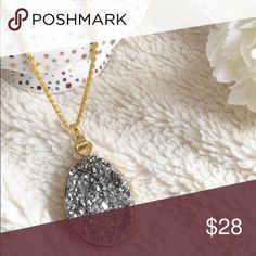 NWT Silver Druzy Rock Necklace Stunning silver druzy rock necklace. Add a little sparkle to any outfit ✨✨✨ Price is firm unless bundled. No trade. T&J Designs Jewelry Necklaces