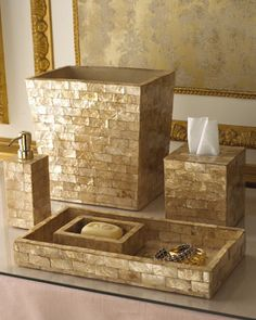Gold Capiz Shell Vanity Accessories I like the golden/yellow undertones and the mosaic like feel of this set (to tie into the mosaic backsplash).