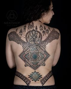 """495 Likes, 2 Comments - Meatshop tattoo (@meatshoptattoo) on Instagram: """"Custom collaboration design by @blackhandnomad and @lahhel Creating this beautiful back piece. ⠀ ⠀…"""""""