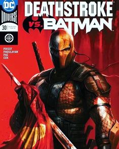 """""""Deathstroke vs. Batman"""" part one! Beginning this month a six-issue series-within-a-series featuring the ultimate showdown between #DC's fiercest rivals! When #Batman discovers a mysterious package containing DNA test results proving that he is not #DamianWayne s biological father the Dark Knight sets his sights on his son's true father-#Deathstroke ! But Damian Wayne can't really be Slade Wilson's son-can he? And who sent the package-and why? The ultimate custody battle ensues as the…"""
