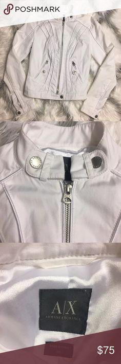 Armani exchange denim jacket Armani exchange women white denim moto jacket size XS Armani Exchange Jackets & Coats Jean Jackets
