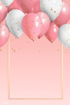 Golden frame balloons on a pink background Happy Birthday Greetings Friends, Happy Birthday Template, Happy Birthday Frame, Happy Birthday Wallpaper, Birthday Frames, Pink Birthday, Happy Birthday Images, Birthday Balloons, Birthday Wishes