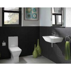 RAK Summit Cloakroom Suite - Close Coupled WC and Hand Basin at Victorian Plumbing UK Cloakroom Suites, Cloakroom Basin, Grey Bathrooms, Small Bathroom, Bathroom Ideas, Toilet And Sink Set, Small Toilet, Understairs Toilet, Simple Bathroom Designs