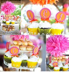 Bright Pink & Orange First Birthday Party.. I would do lighter pink and add in yellow but I love all these printables!