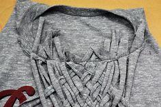 WobiSobi: Weaved Back Tank, DIY Umgestaltete Shirts, Diy Cut Shirts, T Shirt Diy, Band Shirts, Worth Clothing, Clothing Hacks, Diy Clothes Refashion, Shirt Refashion, T Shirt Weaving