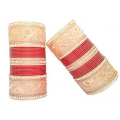 Brilliant Punjabi Chura with curved shape design available online at www.indianbridalhome.com