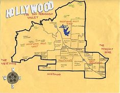 Hand drawn map of Hollywood (sold) http://www.amoeba.com/blog/2012/03/eric-s-blog/hollywood-swinging-a-primer-for-the-neighborhoods-of-hollywood.html