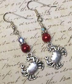 Red Crab Beaded Dangle Earrings