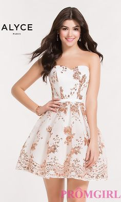 d7c34489a74 Diamond White Short Homecoming Dress with Sequins