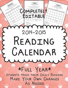Help students stay motivated and track their reading with this full year set of monthly reading calendars. Your entire year of reading homework is ready to print and hand out. You can EDIT this .docx file to change any info to make it compatible with your All About Me Activities, Back To School Activities, School Ideas, Reading Homework, 4th Grade Reading, Calendar 2014, Monthly Calendars, Reading Comprehension Activities, Reading Strategies