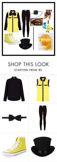 """Bill cipher cosplay ( gravity falls )"" by kawaiireborn ❤ liked on Polyvore featuring Yumi, Balmain, Yves Saint Laurent, New Look, Converse and Alexander McQueen"