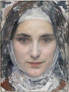 Edgar Maxence (french symbolist painter, 1871-1954, pupil of Gustave Moreau) - Sainte Thérèse de Lisieux, 1931    SOURCE: old-world