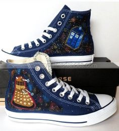 #Doctor Who Hand Painted Shoes