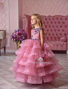 Flower girl dress for a wedding, birthday or any special day. Luxury pageant dresses by Alexandrina. Girls Pageant Dresses, Gowns For Girls, Little Girl Dresses, Tulle Flower Girl, Flower Girl Dresses, Flower Girls, Princess Dress Kids, Baby Dress Design, Kids Gown