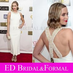 Emily Blunt Dress Beaded Evening Prom Ankle Length Cristics Choice Awards 2013 Celebrity Red Carpet