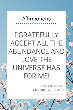 I gratefully accept all the abundance and love the universe has for me! Manifesting Law of Attraction. Affirmations For Anxiety, Affirmations For Women, Positive Affirmations Quotes, Wealth Affirmations, Self Love Affirmations, Law Of Attraction Affirmations, Affirmation Quotes, Positive Quotes, Healing Affirmations