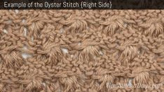 Example of the Oyster Stitch. (Right Side) - video for right and left-handed plus pdf of instructions.  Really interesting stitch and looking for a pattern in which to use this.