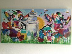 Melk van de koe, Sold! Veelzijdig kleurrijk kunstenares Mir/ Mirthe Kolkman  www.kunstenaresmir.nl waaronder koeienschilderes. Koe kleurrijke koe koeienkunst kleurrijk kunstwerk koe in de wei hollandse koe gezellige vrolijke koe koeienkop cows from holland cowpainting koeienschilderij koeien schilderen dierenschilderij kalfjes bloemen hartjes grappige koeien koe samen met kalf dutch cows cowartist happy cows funny cows grappige koe kaas melkbus bloemen bijtjes kunst art