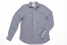 Linen Navy Gingham Shirt w/Cutaway Collar