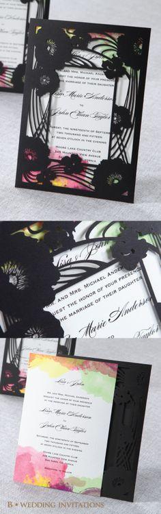 Laser Cut Frame Pocket Wedding Stationery by B Wedding Invitations