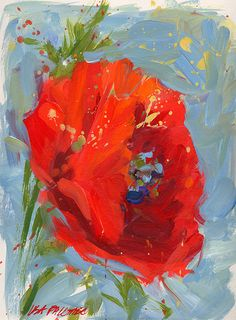 Contemporary ORIGINAL poppy painting by by lisapalombostudios, $150.00