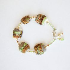 Spring Trend Colors Flat Lampwork Bead by CalliopeAZCreations, $52.00