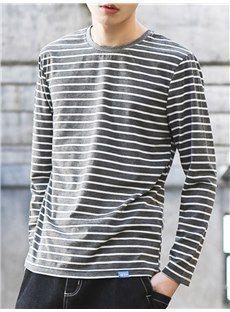 Tシャツ全3色ボーダー柄丸ネック長袖メンズTシャツ