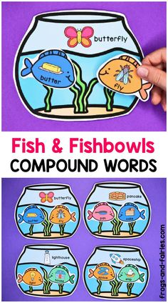 This printable game will help you teach your students about compound words! They will be practicing finding compound words by matching colorful fish with matching fishbowls! Literacy Activities, Learning Resources, Teaching Ideas, Play To Learn, Learn To Read, Compound Words, Letter Matching, Beginning Reading, Early Literacy