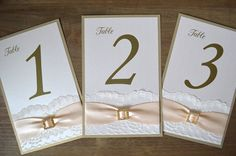 Blush and Gold Table Numbers - Lace Table Number - Wedding Table Number - Couture Table Card - Vintage - Romantic (BUCKLE TABLE NUMBER)