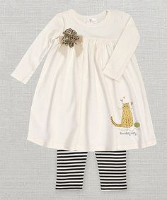 This Ivory & Black 'Here Kitty Kitty' Floral Dress & Leggings - Infant by Truffles Kids is perfect! #zulilyfinds