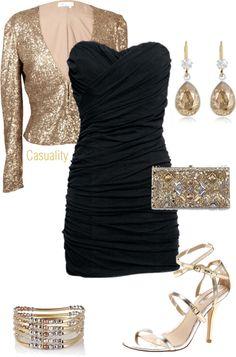 Abito nero accessori oro  9a63fa77bbc