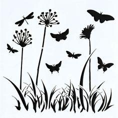Bloemen en vlinders (we zien enkel silhouetten)