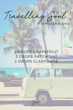 Travelling Soul Diffuser Blend - 4 drops Grapefruit, 3 drops Patchouli + 2 drops Clary Sage. #essentialoils #naturalliving