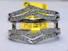14kt White Gold Solitaire Enhancer Diamonds Ring Guard Wrap Wedding Band (0.36ct. tw)