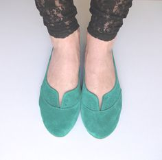 Emerald Aqua Green Suede Handmade Oxford Shoes by elehandmade, $140.00