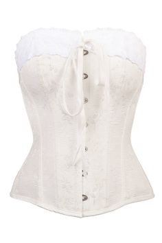 42c2f2fd14 Ivory Historic Inspired Overbust Corset With White Lace - US6