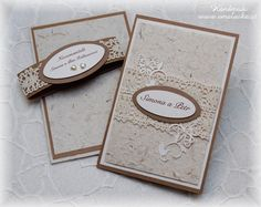 Natural wedding card with handmade paper.