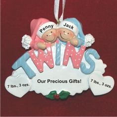 Twins: Girl & Boy Personalized Christmas Ornament