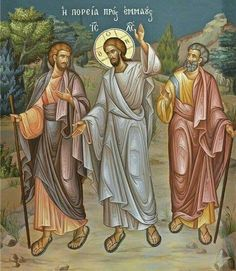 Icon of Christ walking with the disciples on the road to Emmaus. This Gospel is read on Bright Tuesday. Religious Icons, Religious Art, Road To Emmaus, Religion, Christian Artwork, Sign Of The Cross, Life Of Christ, Byzantine Icons, Catholic Art