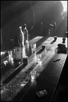 SPAIN—Bottles And Glasses On A Table In The Basque Region, January 1937. © David Seymour / Magnum Photos